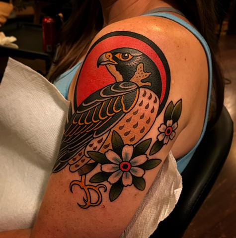 falcon tattoo by dave wah