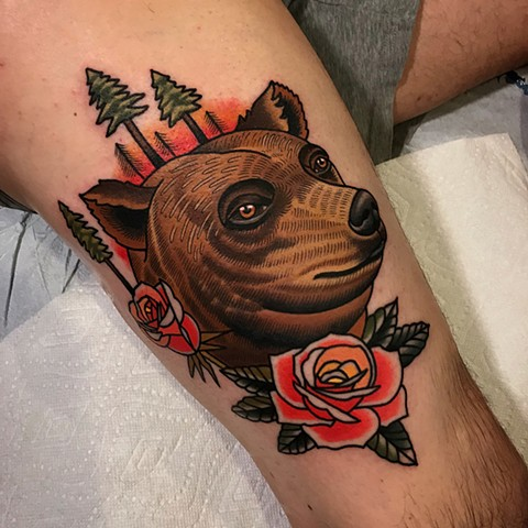 bear tattoo by dave wah