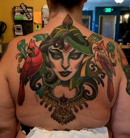 woman and birds tattoo by dave wah at stay humble tattoo company in baltimore maryland the best tattoo shop in baltimore maryland