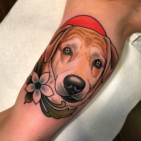 dog portrait tattoo by dave wah