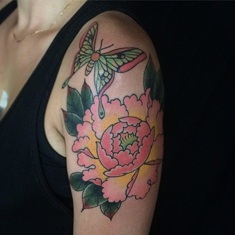 Japanese Peony and Butterfly Japanese Tattoo Baltimore Maryland Virginia New York Traditional Custom