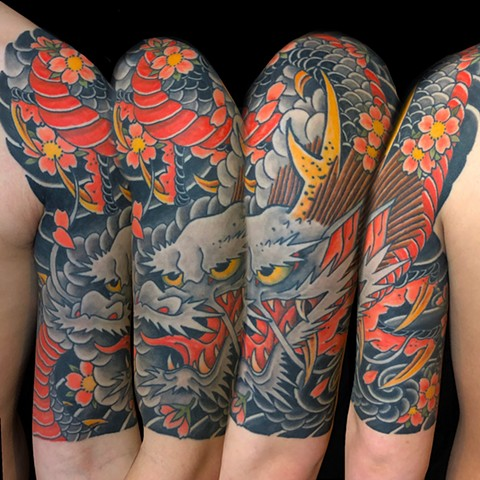 Japanese Dragon Half Sleeve  by Fran Massino at stay humble tattoo company in baltimore maryland the best tattoo shop and artist in baltimore maryland specializing in Japanese tattoo