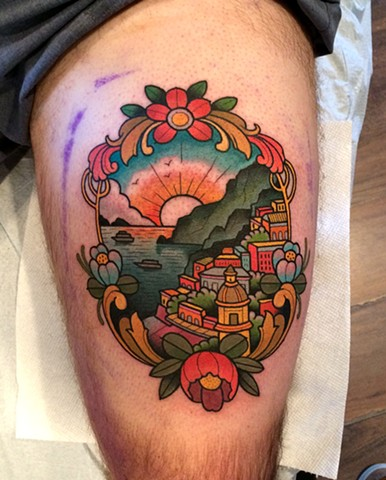 traditional landscape tattoo by tattoo artist dave wah at stay humble tattoo company the best tattoo shop in baltimore maryland