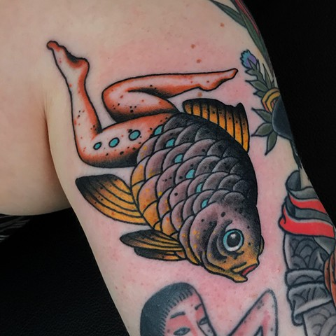 Reverse Mermaid tattoo  by Fran Massino at stay humble tattoo company in baltimore maryland the best tattoo shop and artist in baltimore maryland specializing in Japanese tattoo