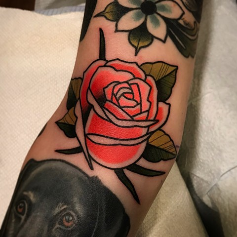 rose tattoo by tattoo artist dave wah at stay humble tattoo company in baltimore maryland the best tattoo shop in maryland and east coast