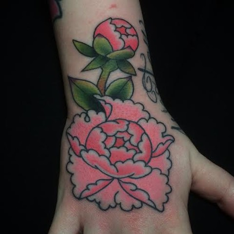 Japanese Flower done by Fran Massino Maryland Tattoo Artist
