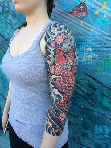 Japanese Tattoo Baltimore Maryland Virginia New York Traditional Custom koi fish