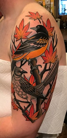 oriole bird and mockingbird tattoo by dave wah at stay humble tattoo company in baltimore maryland the best tattoo shop and artist in baltimore maryland