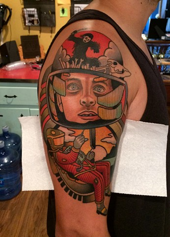 2001: A Space Odyssey tattoo by tattoo artist dave wah at stay humble tattoo company the best tattoo shop in baltimore maryland