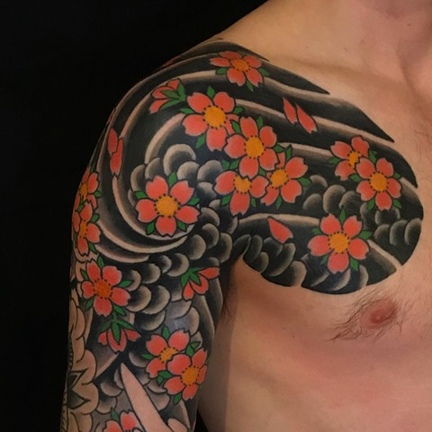Japanese Chest pieces by Fran Massino at stay humble tattoo company in baltimore maryland the best tattoo shop and artist in baltimore maryland specializing in Japanese tattoo