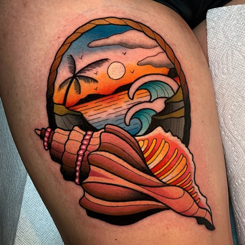 beach scene tattoo by dave wah at stay humble tattoo company in baltimore maryland the best tattoo shop and artist in baltimore maryland
