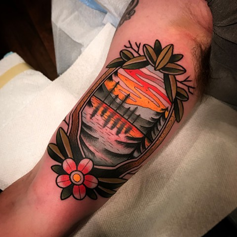 traditional landscape tattoo by dave wah at stay humble tattoo company in baltimore maryland the best tattoo shop and artist in baltimore maryland