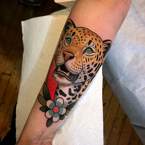 leopard tattoo by dave wah