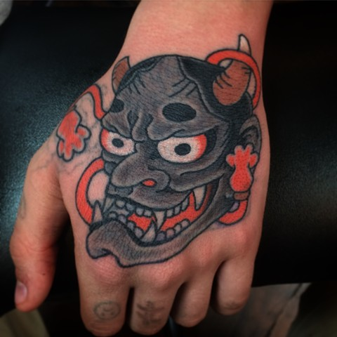 Japanese hannya Mask tattoo  by Fran Massino at stay humble tattoo company in baltimore maryland the best tattoo shop and artist in baltimore maryland specializing in Japanese tattoo