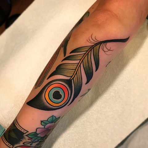 feather tattoo by dave wah