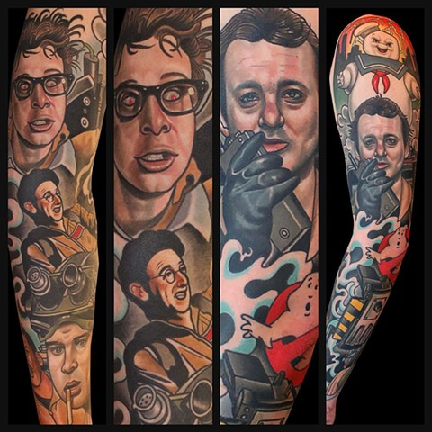 ghostbusters tattoo by dave wah at stay humble tattoo company in baltimore maryland the best tattoo shop in baltimore maryland