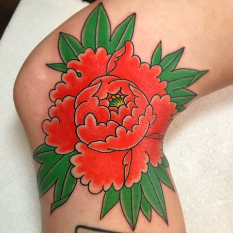 Japanese Peony done by Fran Massino at Stay humble Baltimore Tattoo Shop Japanese Tattoo