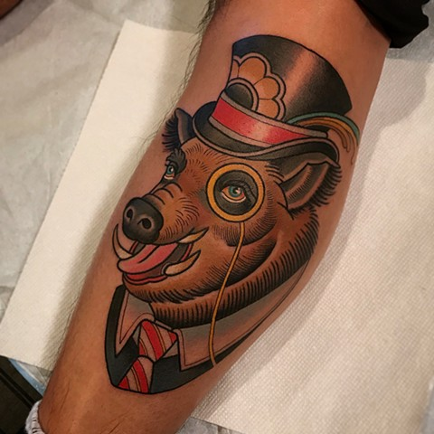 boar tattoo by dave wah