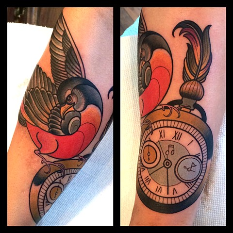Bird and watch tattoo by Dave Wah