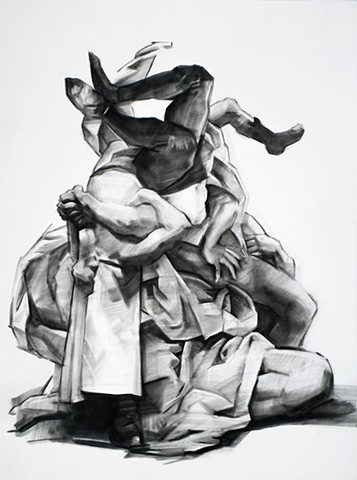 drawing, charcoal, figurative, pastel, black and white, contemporary art