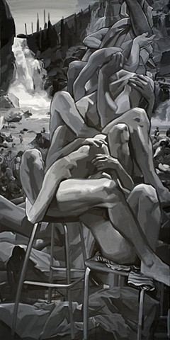 black and white, figurative, greyscale, painting