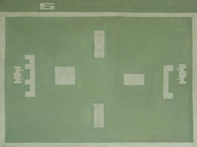 Modern Contemporary art. Oil on canvas painting by Douglas Boyd Johnson. Blue Green color field painting of an Atari game entitled Combat. Selected by Robert Storr, Yale School of Art. By South Carolina artist Clemson graduate.