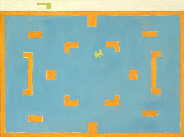 Excellent Color Field Modern Contemporary painting by Douglas Boyd Johnson, from South Carolina Clemson University Graduate.  Orange and blue painting of Atari game Combat.