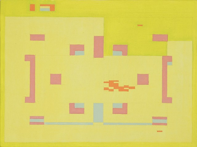 Abstract geometric color field painting based on the Atari game Combat.  By Doug Johnson from Clemson University South Carolina.