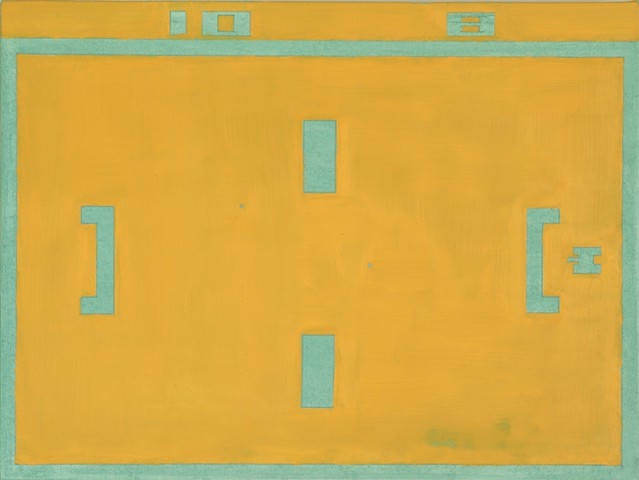 Orange Contemporary abstract painting based on arcade game imagery.