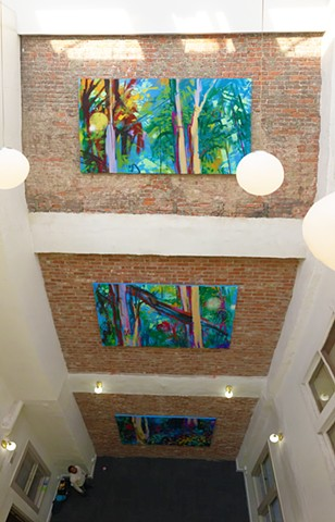 A commission for the inner atrium of the Schultz Building, NW corner of 4th and Main Street in Lafayette, IN.  Each panel of the vertical triptych is installed on a different floor in the space, and can be seen from windows at each level.