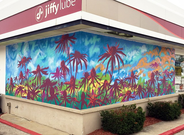 mural on the Lafayette, IN Jiffy Lube site, sponsored by Hoosier Automotive LLC and the Arts Council of Indianapolis.