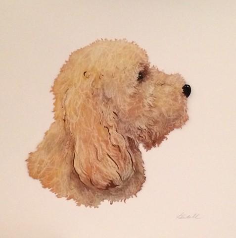 Pastel Dog Silhouette Portrait