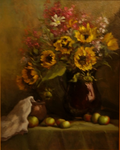 Sunflowers and Lady Apples