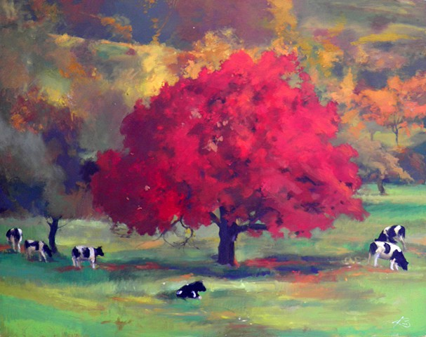 Red Tree with Cows