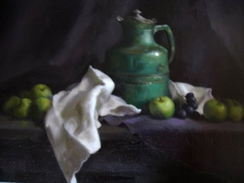 Green Pitcher and Apples