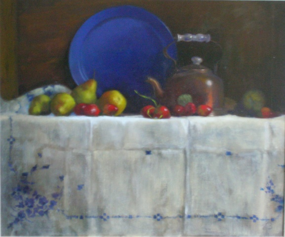 Teapot and Blue Plate