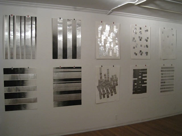 Art, work on paper, prints, relief prints, embossed, stenciled, on Rives BFK paper, 2012, by Robert Fields