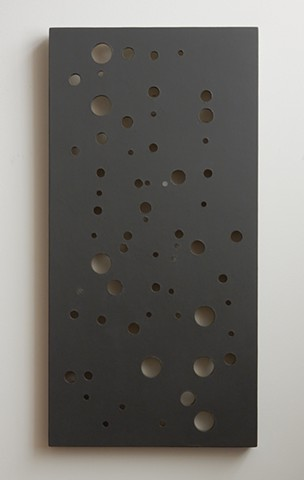 "A low-relief, painted wood wall-hung sculpture done in the manner of post-minimalism, geometric abstraction. ""We are living in a leaderless world."" Robert Fields, 2016, Chicago, IL."