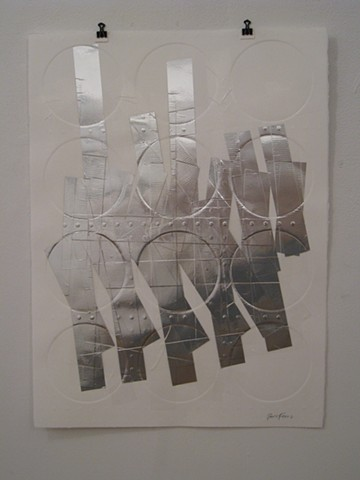 Art, work on paper, relief mono print, embossed on Rives BFK paper, 2012, by Robert Fields