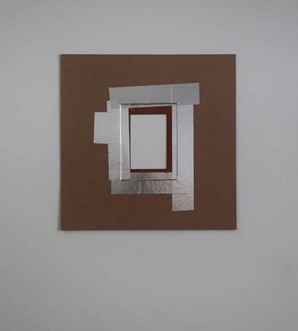 "Robert Fields, Contemporary conceptual art. ""Past/Present"" 2020. Aluminum foil self-adhesive tape and graphite on chip, stencil and corrugated boards. 16"" x 16""."