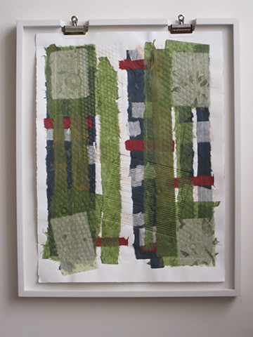 Art, on paper, relief mono print with chine collé of Japanese papers, 30 x 22 inches, 2011, by Robert Fields