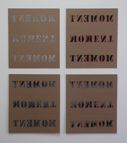 Robert Fields, Contemporary conceptual art, prints. Title: T-Series. 2020. Media: Stenciled, 2-sides, lacquer / aerosol and graphite on chipboard. Informed by the mind/body shifts triggered by a traumatic experience.