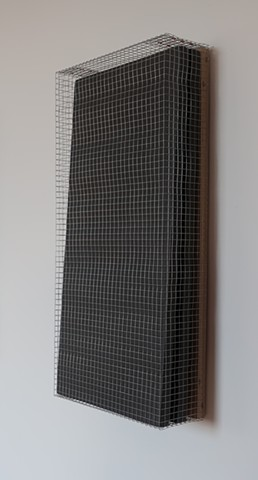 "Robert Fields, ""Hiding from a spirit."" 2019. Galvanized steel wire screening with copper & steel fasteners, acrylic paint on wood & foam panels. 30-1/2 H x 14-1/2 W x 5-1/2 D inches. Contemporary sculpture."
