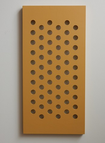 A wall relief, influenced by minimalism, situated somewhere between painting and sculpture. Acrylic paint on a wood panel, 32-1/2 x 15-3/4 x 1-1/4 inches, by Robert Fields, 2015.