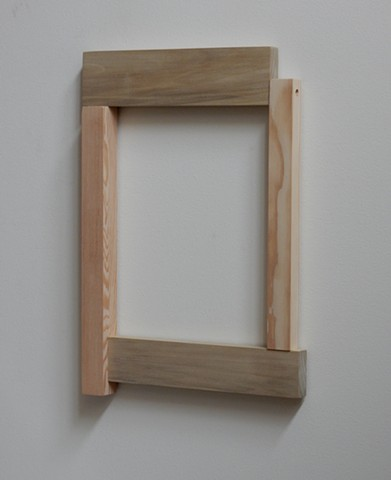 "Contemporary, geometric, post-minimal, wall mounted wood sculpture by Robert Fields, ""We need to add, not subtract."" (For Pres. Juan Manuel),  21 x 14-3/4 x 1-1/2 inches, 2017."