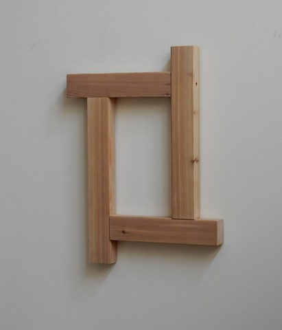 "Contemporary, abstract, geometric wood sculpture, wall mounted, by Robert Fields, ""What is it about Z-bite? (For Celina), 2017."