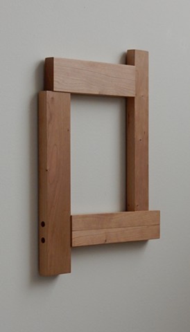 "Contemporary, geometric, post-minimal, wall mounted wood sculpture by Robert Fields, ""Shoulders still sturdy. (For Rep. John L.),"" 19-1/4 x 14-1/4 x 1 inches, 2017."