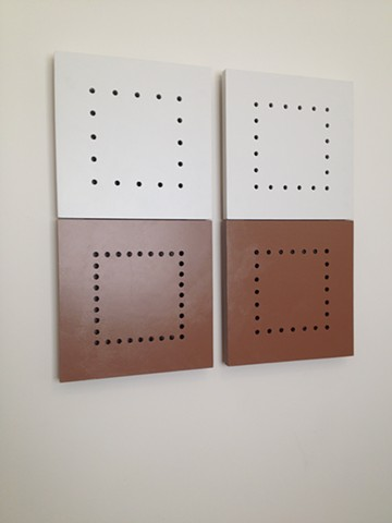 "A minimalist sculpture, painted wood, wall hung, in 2 units, ""Not There Yet,"" 2015, by Robert Fields"