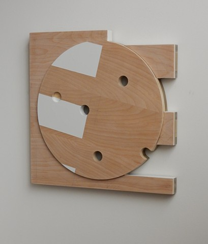 "A low-relief, painted wood, wall-hung sculpture done in the manner of post-minimalism, geometric abstraction. "" 'Let it be an arms race.' --Donald Trump."" Robert Fields, 2016, Chicago, IL."