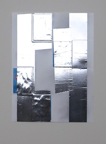 Robert Fields, 2020, Contemporary, minimal art, collage, paper game tickets, with graphite and self-adhesive aluminum tape on incised, YUPO® polypropylene sheet.